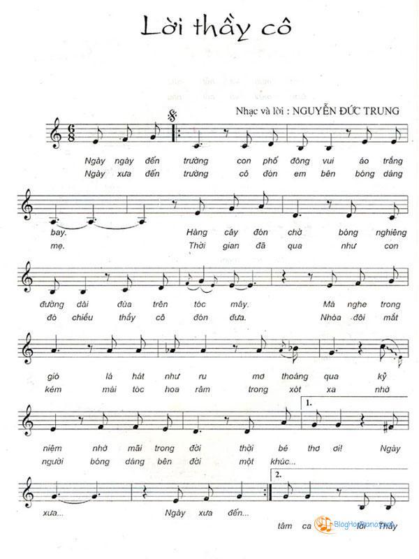Sheet nhạc lời thầy cô