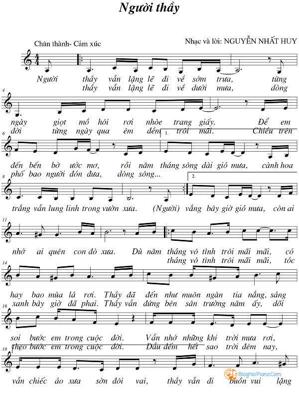 Sheet nhạc người thầy