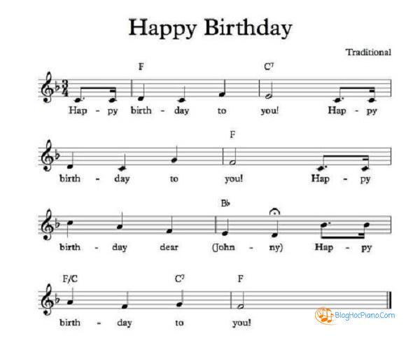 học chơi đàn piano bài happy birthday căn bản