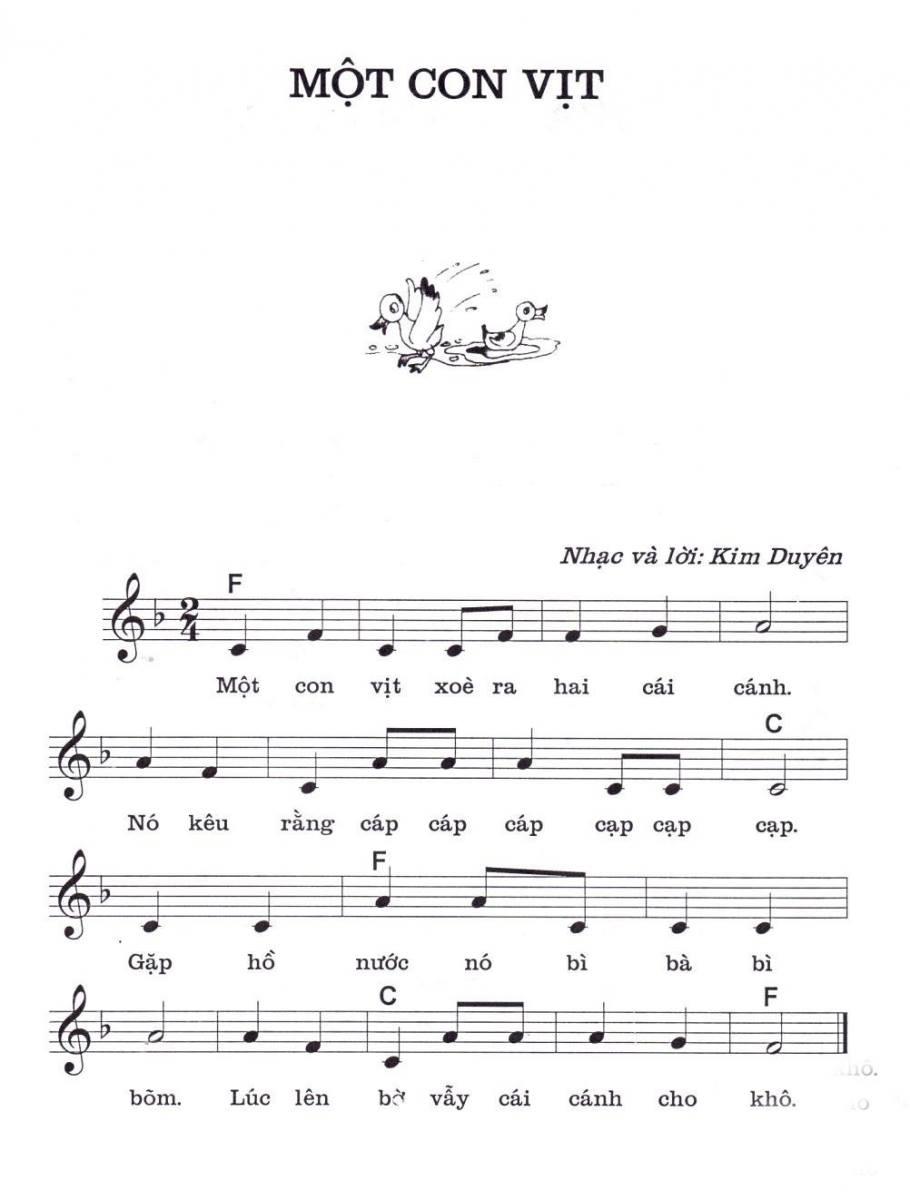 Thực hành Piano đệm hát với tác phẩm Một con vịt