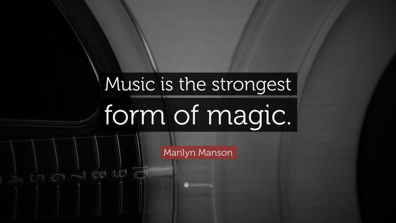 """3840x2160 Marilyn Manson Quote: """"Music is the strongest form of magic."""""""