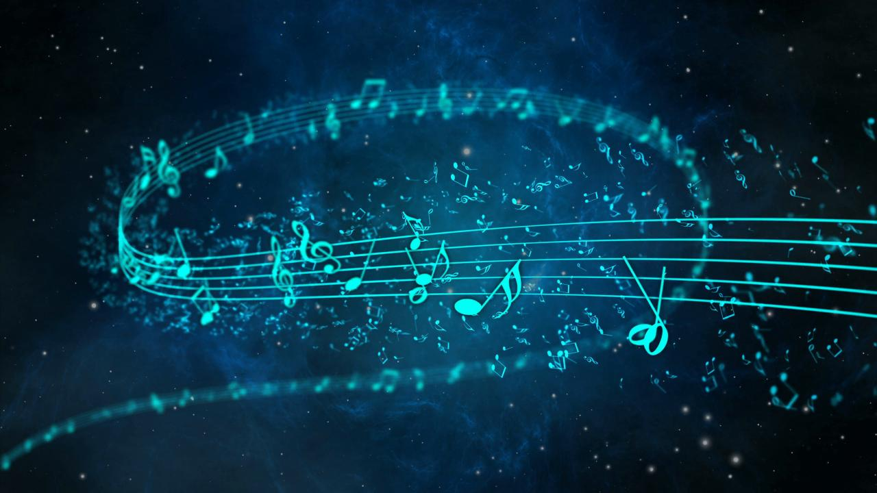 3840x2160 Animated background with musical notes, Music notes flowing, flying stream of Music Notes Motion Background - VideoBlocks