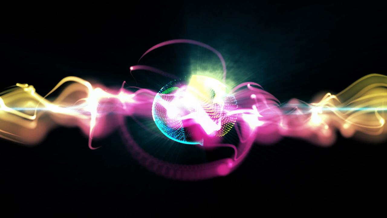 3840x2160 Abstract motion background, shining lights, sound waves geometric shape energy and sparkling element particles