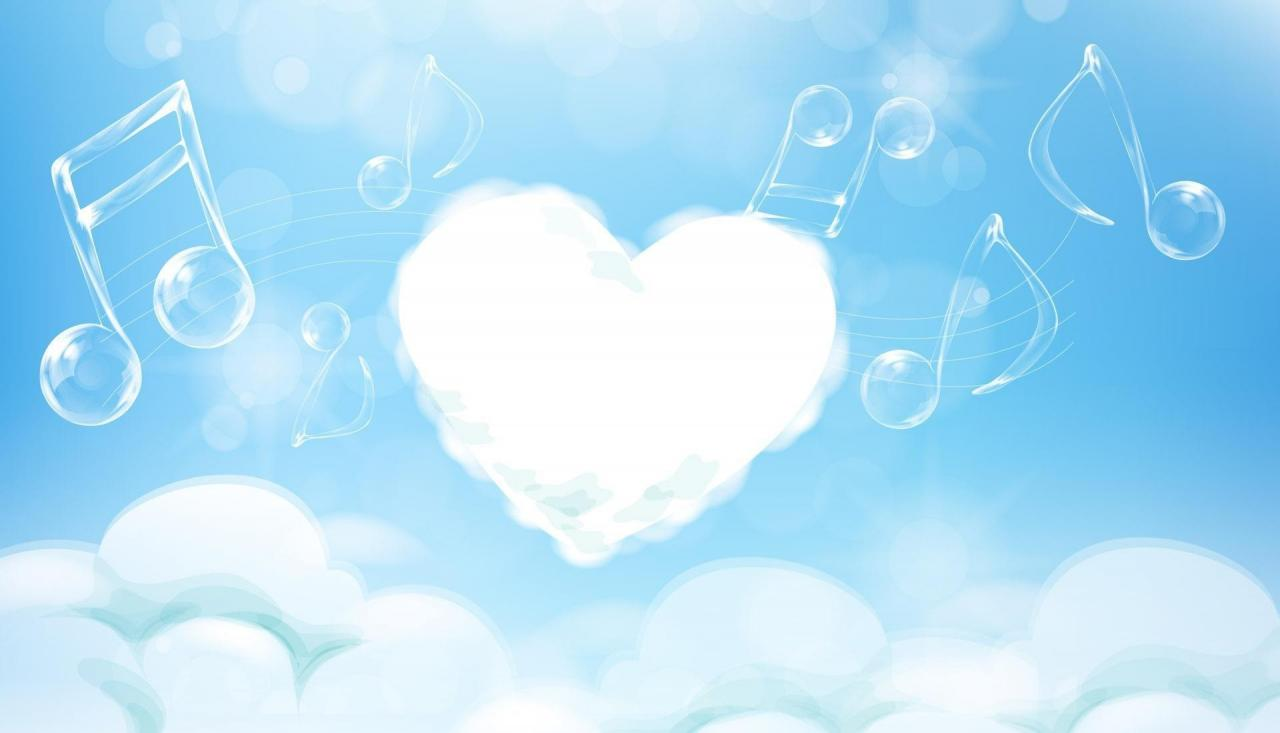 1920x1100 Music melody clouds Backgrounds for Presentation - PPT Backgrounds Templates