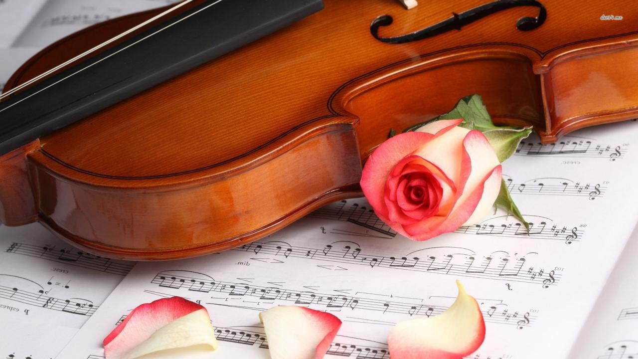 1920x1080 ... Violin and rose on music sheet wallpaper 1920x1080 ...