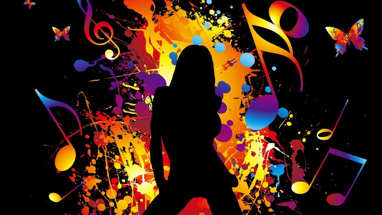 1920x1080 Colorful Vector music girl dancing Wallpaper    .